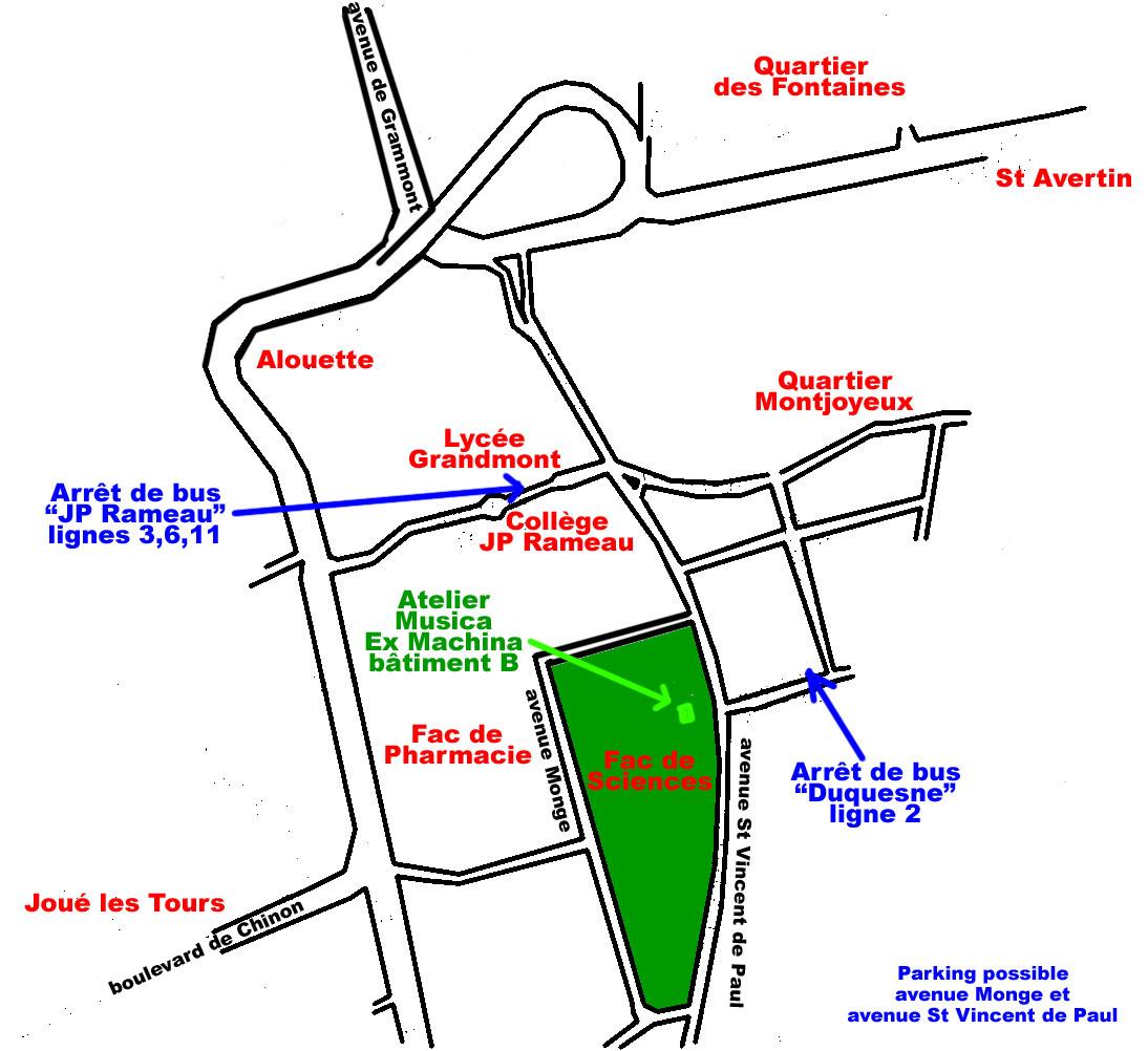 Plan d'accès à l'atelier